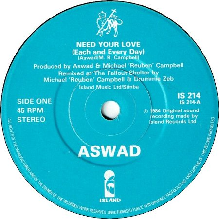 NEED YOUR LOVE (VG+) / RAINFALL SUNSHINE (VG+)