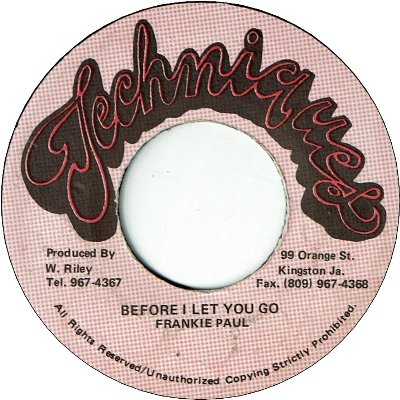 BEFORE I LET YOU GO (VG+) / Dancehall Mix (VG+)