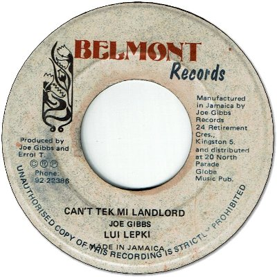 CAN'T TEK MI LANDLORD (VG+) / VERSION (VG)