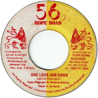 ONE LOVE JAM DOWN (VG+) / DUB DOWN (VG+)