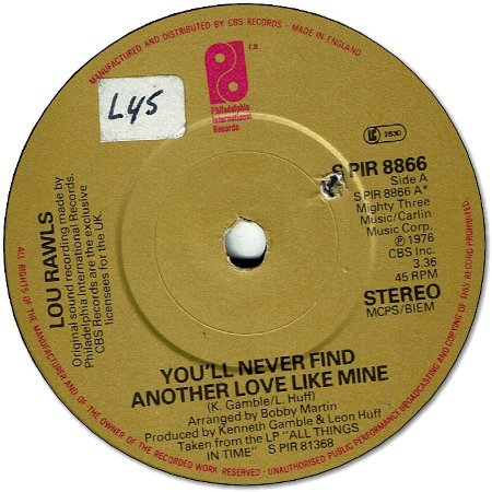 YOU'LL NEVER FIND ANOTHER LOVE LIKE MINE (VG+) / LADY LOVE (VG+)