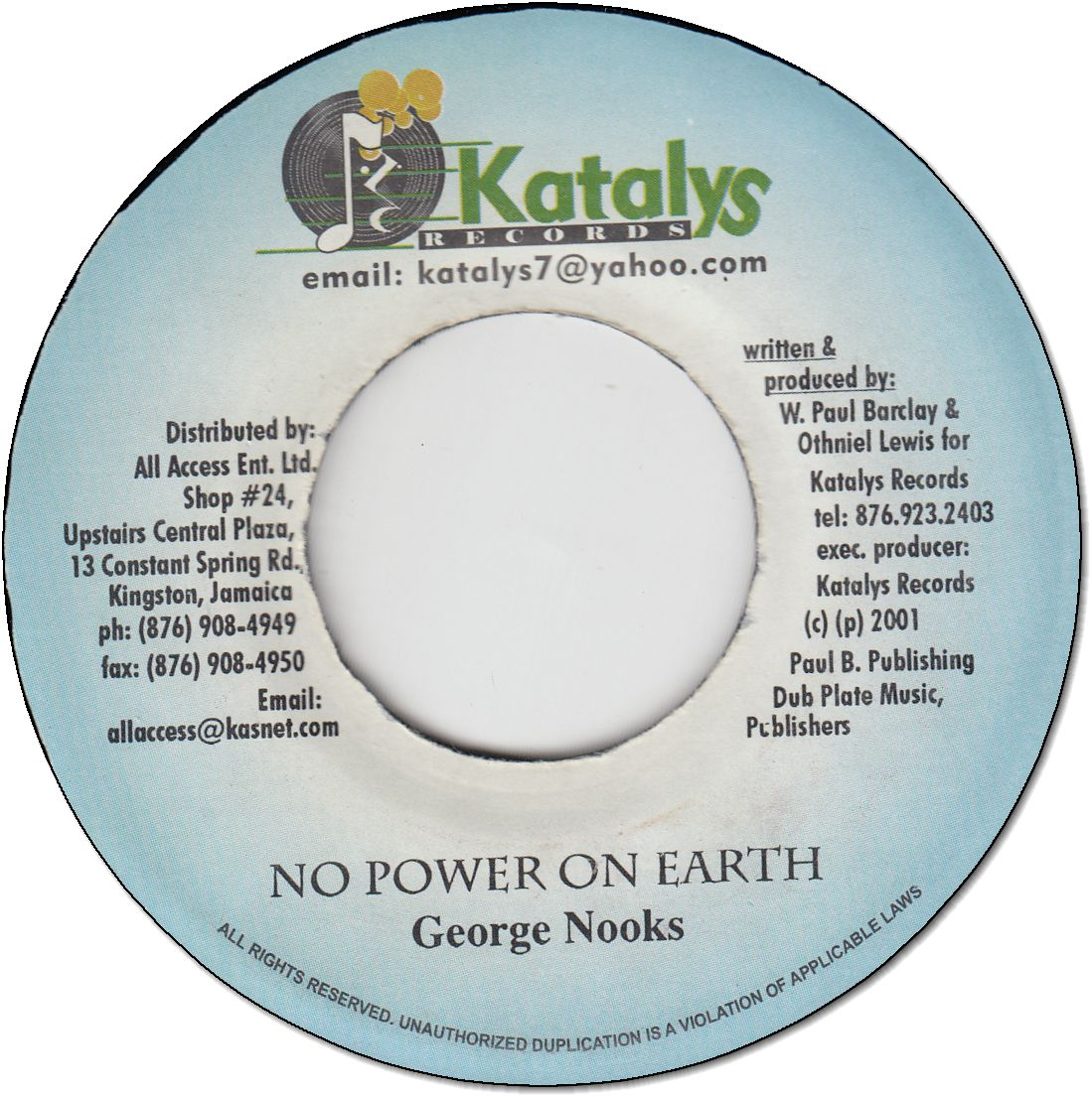 NO POWER ON EARTH (VG)